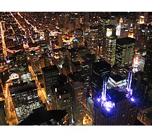Chicago Downtown view from Sears Tower at night Photographic Print