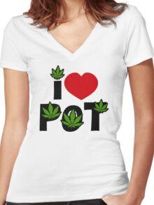 I Love Pot Women's Fitted V-Neck T-Shirt