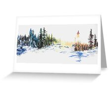 Evergreen Landscape Watercolour Painting Greeting Card
