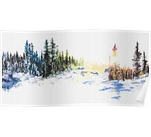 Evergreen Landscape Watercolour Painting Poster