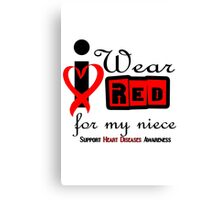 Niece i wear red ribbon heart disease geek funny nerd Canvas Print