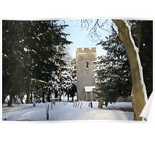 St Mary Magdalene, Denton in the snow Poster
