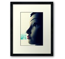 Mandy the Giant Head Contemplates the Meaning of Christmas Framed Print
