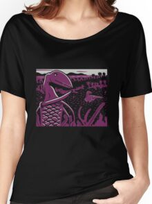 Dimorphodon and Scelidosaurus - Gray and Purple Women's Relaxed Fit T-Shirt