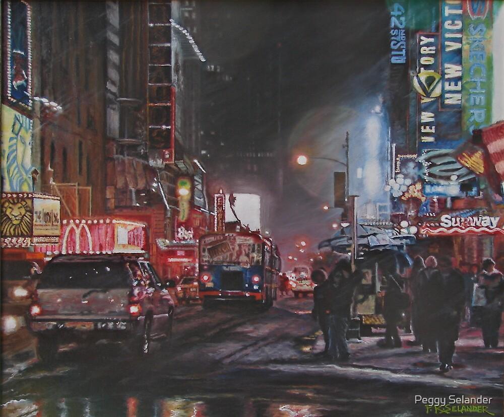 New York Night Lights in Snow by Peggy Selander