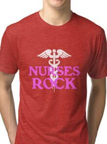 Nurses rock geek funny nerd Tri-blend T-Shirt