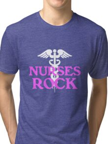 Nurses rock geek funny nerd Tri-blend T-Shirt