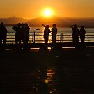 Seattle people at sunset...in Seattle. by Jenny Miller