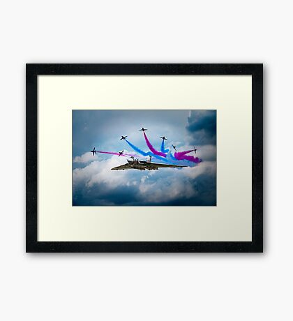Vulcan Red Arrows Break Framed Print