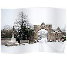 Snowy Gateway: West Norwood Cemetary, London, UK. Poster