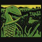 Dimorphodon and Scelidosaurus - Yellow and Green by David Orr