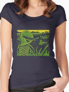 Dimorphodon and Scelidosaurus - Yellow and Green Women's Fitted Scoop T-Shirt