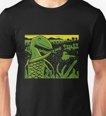 Dimorphodon and Scelidosaurus - Yellow and Green Unisex T-Shirt