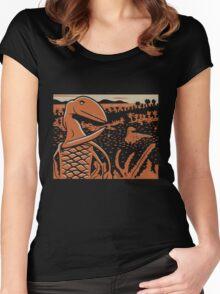 Dimorphodon and Scelidosaurus - Tan and Orange Women's Fitted Scoop T-Shirt