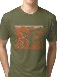 Dimorphodon and Scelidosaurus - Tan and Orange Tri-blend T-Shirt