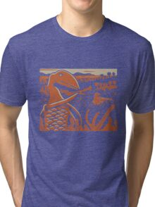 Dimorphodon and Scelidosaurus - Tan and Orange Tri-blend T-Shirt