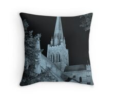 Chichester Cathedral in Teal Throw Pillow