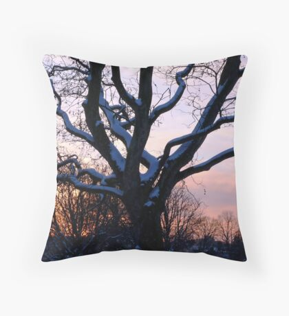 Snowy sunset scene Throw Pillow