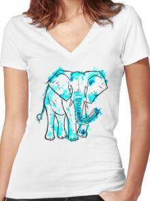 Watercolour Elephant Women's Fitted V-Neck T-Shirt