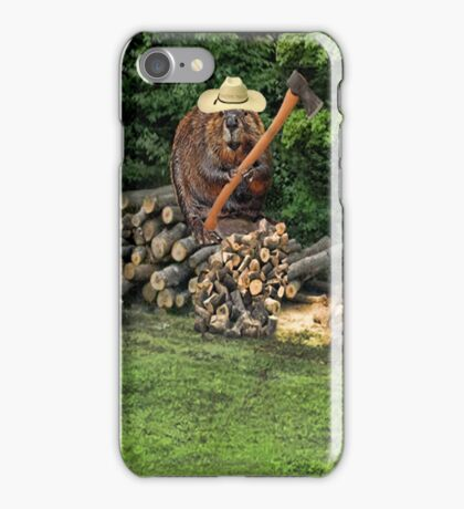 BUSY BEAVERS CHOPPING WOOD-PICTURE-TEE SHIRT-PILLOW-TOTE BAG-JOURNAL ECT... iPhone Case/Skin