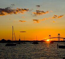 Newport, RI sunset in the harbor  by Joe Bashour