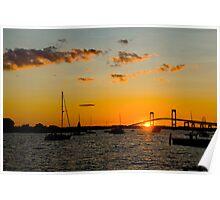 Newport, RI sunset in the harbor  Poster