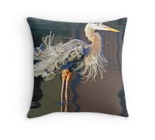 Great blue heron fluffing its feathers! Throw Pillow
