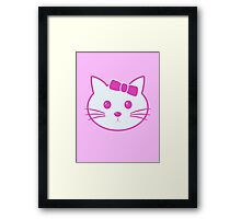 Cartoon Anime Cat Face Framed Print
