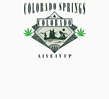 """Marijuana Colorado Springs """"Live It Up"""" Womens Fitted T-Shirt"""