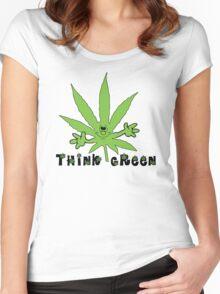 Think Green Marijuana Women's Fitted Scoop T-Shirt