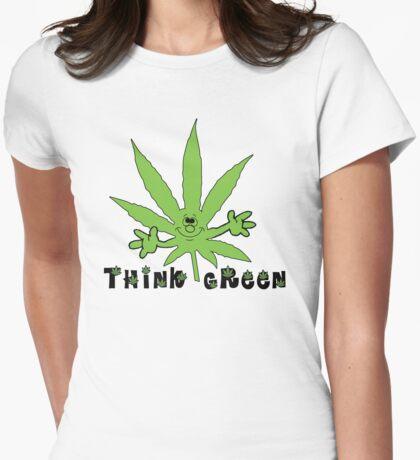 Think Green Marijuana Womens Fitted T-Shirt