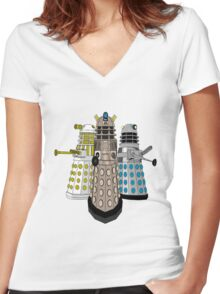 Evolution Of The Daleks Women's Fitted V-Neck T-Shirt