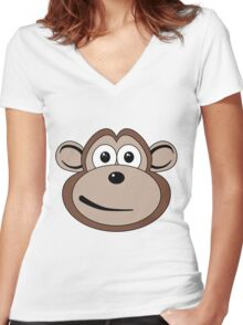Cartoon Monkey Face Women's Fitted V-Neck T-Shirt