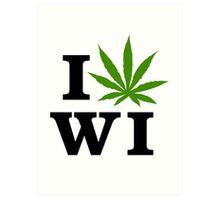 I Love Wisconsin Marijuana Cannabis Weed  Art Print