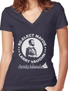 Re-Elect Mayor Larry Vaughn Women's Fitted V-Neck T-Shirt