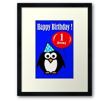 Personalized birthday card penguin with balloon geek funny nerd Framed Print