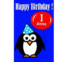 Personalized birthday card penguin with balloon geek funny nerd Photographic Print