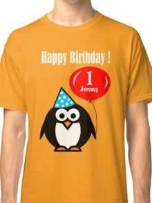 Personalized birthday card penguin with balloon geek funny nerd Classic T-Shirt
