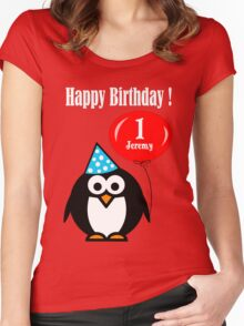Personalized birthday card penguin with balloon geek funny nerd Women's Fitted Scoop T-Shirt