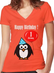 Personalized birthday card penguin with balloon geek funny nerd Women's Fitted V-Neck T-Shirt