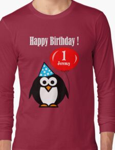 Personalized birthday card penguin with balloon geek funny nerd Long Sleeve T-Shirt
