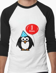 Personalized birthday card penguin with balloon geek funny nerd Men's Baseball ¾ T-Shirt