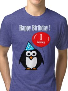Personalized birthday card penguin with balloon geek funny nerd Tri-blend T-Shirt