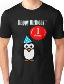 Personalized birthday card penguin with balloon geek funny nerd Unisex T-Shirt