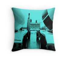 """Steel Blue"" Cement-Mixing Trucks Throw Pillow"