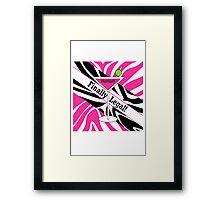 Pink black white zebra martini 21st finally legal geek funny nerd Framed Print