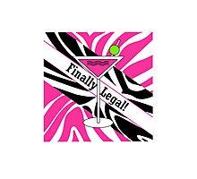 Pink black white zebra martini 21st finally legal geek funny nerd Photographic Print