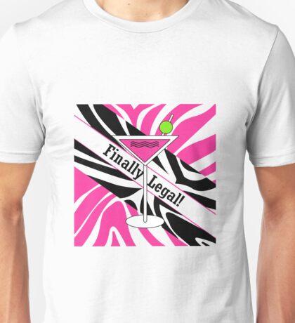 Pink black white zebra martini 21st finally legal geek funny nerd Unisex T-Shirt
