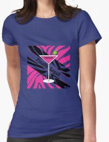 Pink black white zebra martini 21st finally legal geek funny nerd Womens Fitted T-Shirt