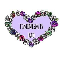 Feminism is Rad Heart - Purple by seasmiles